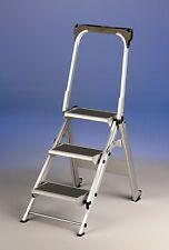 Sgabello scala scaletta alluminio 5 gradini larghi parapetto apribile e rotelle