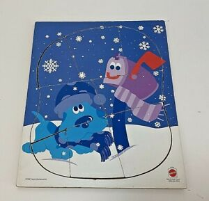 Vintage Puzzle Mattel Blues Clues Frame Tray Snow Mailbox Winter Preschool