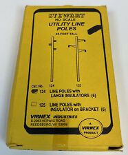 Stewart 124 HO Scale Utility Line Poles X6 Large Insulators Style NEW SEALED