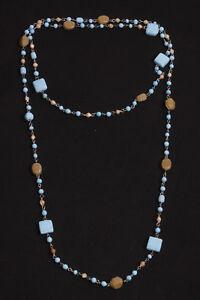 Georgeus Ladies Blue&Beige Beads Long Chain Necklace (S509)
