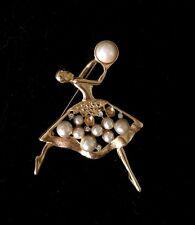 "Vtg Gold Tone Faux Pearl Rhinestone Ballerina Dancer Brooch 2 3/4"" Repair"