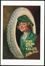 1910s Original Vintage Kelly Springfield Tires Lady Lou Mayer Art Print Ad