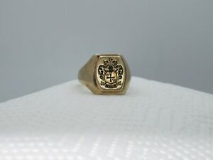 10k Men's Signet Ring Vintage Coat Of Arms True Wax Stamping Style 10.5 (id294