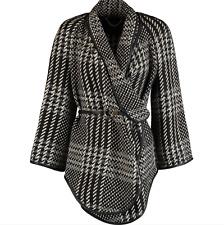 Karen Millen UK 12 Oversized Coat Checkered Wrap Knitted RRP 250 Belted Wool Mix