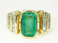 3Ct Emerald Cut Green Diamond Unique Engagement Ring 14K Yellow Gold Finish