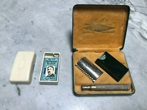 Vintage Gillette Safety Razor with 3 wrapped blades