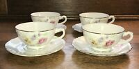 LIPPER & MANN VIENNA WOODS 4 FOOTED CUP & SAUCER SETS FLORAL SCROLL GOLD TRIM