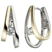 Creolen Ohrringe zwei Bögen mit Zirkonia weiß 925 Silber teilvergoldet Damen