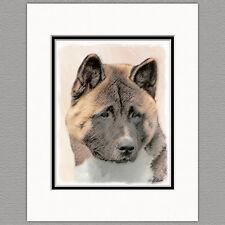 Akita Dog Original Art Print 8x10 Matted to 11x14
