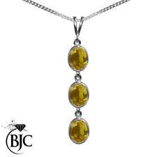 Ovale Echtschmuck-Halsketten & -Anhänger aus Weißgold mit Citrin-Hauptstein