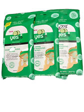 Yes to Cucumbers SOOTHING Calming REMOVING WIPES For Sensitive Skin, New,3packs