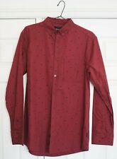 Diamond Supply Co Mens Button Up Shirt Long Sleeve Wine Burgundy Red M Medium