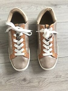 JOULES Tildy Leather Trainers *VCG* Rose Gold UK 8 Pumps Metallic Athleisure