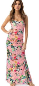 New Sky Roxxana Pink floral sexy Maxi Dress viscose blend Made in USA women's M