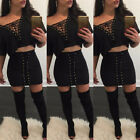 Casual Women Bodycon Two Piece Dress Crop Top Skirt Set Sleeveless Office Outfit
