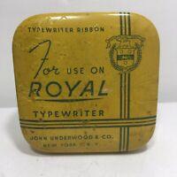 Vintage Royal Typewriter Ribbon Square Yellow Tin & Ink Reel by John Underwood