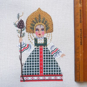 Handpainted Needlepoint Canvas Winter Maiden Woodland Belle Leigh Designs