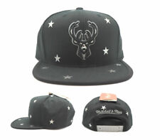 Milwaukee Bucks New Mitchell & Ness Foil Star Chrome Black Era Snapback Hat Cap