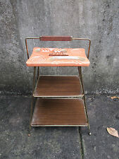 Ashtray Stand MCM Wire Shelves Teak Handle California Pottery Vintage 1950 Pink