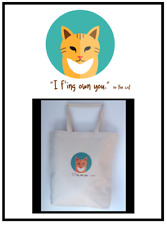 XO ~ the Cat Handprinted Custom Tote Bag