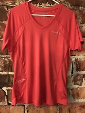 Brooks Womens Equilibrium Tech Athletic Shirt Pink Silver Stripe Key Pocket XL