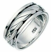 Elements 925 Oxidised Sterling Silver Twisted Rope Spinning Band Stress Ring