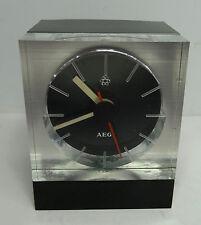 vintage 70s - Designer Cube Acryl Plexiglas Uhr AEG Tischuhr  70er