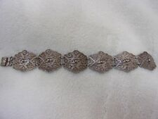 Vintage Sterling Silver Filigree Linked Bracelet Made in Mexico