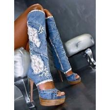 Women Gladiator Peep Toe Lace Platform High Heels Denim Jean Knee High Zip Boots