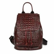 Women Genuine Real Cow Leather Backpack Travel Bag Handbag Crocodile Embossed