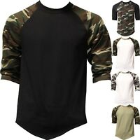 Mens Raglan T Shirts Baseball 3/4 Sleeve CAMO Plain Tee Jersey Team Sports