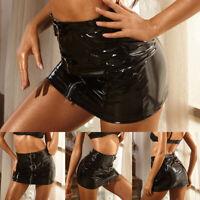 Women's Sexy PVC Shiny Wetlook Skirt Gothic Pencil Bodycon Mini Skirt Plus Size