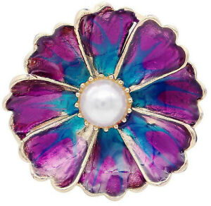 Gold Plated Purple Enamel Pearl Flower 18mm 20mm Snap Charm For Ginger Snaps