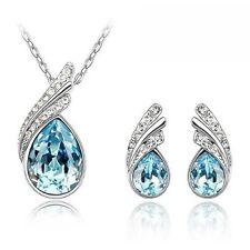 Caratcube Ocean Blue Austrian Crystal Pendant Set With Earrings For Women