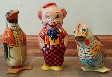 3 VTG 1940's J Chein & Co Wind-Up Tin Litho Toys Pig Penguin & Chick ALL WORK