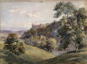 LLANSTEFFAN CASTLE WALES Antique Watercolour Painting - 19TH CENTURY