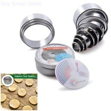 Stainless Steel Cutter 11 Pieces Round Cookies Pastry Cake Fruit Vegetable Dough