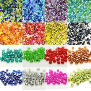 Rondelle Faceted Crystal Glass Loose Spacer Beads 4mm 6mm Wholesale Jewelry Diy