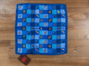 ETRO Milano blue paisley and animal motif silk pocket square authentic - NWT