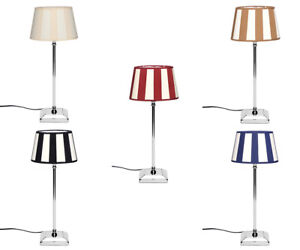 Design Table Lamp Striped Lampshade Round Lampfoot from Aluminum Chrome