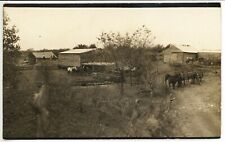 LIVELY FARM SCENE antique picture postcard real azo rppc photo HORSES & CARRIAGE