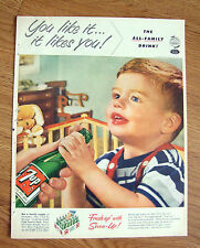 1953 7up Soda Pop Bottle Ad Baby Boy You Like it It likes You All Familyh Drink