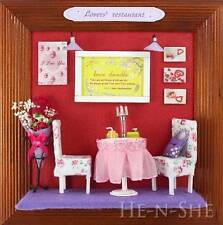 DIY Wooden Dollhouse Miniature Photo Frame Lovers' Restaurant  M004