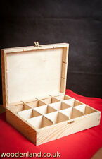 WOODEN TEA BOX 12/ UNPAINTED NEW WOODEN TEA BOX 12 SECTIONS/ ART CRAFT DECOUPAGE