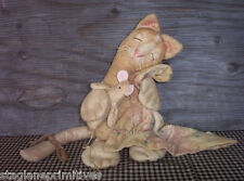 Primitive Sleepy Benton Cat Kitty with Mouse Doll & Blanket Easy Sewing Pattern