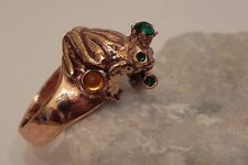 """Gold Plated Copper Frog Ring Size 7""""  Made in Italy"""