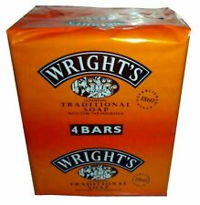 4 Wrights Traditional Coal Tar Soap with Coal Tar Fragrance, Antiseptic Soap
