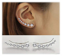 Crystals Ear Cuffs Hoop Climber S925 Sterling Silver Earrings Hypoallergenic