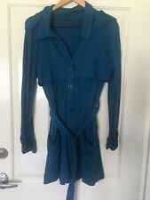 Metalicus Teal Coloured Trench Style Coat