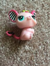 Littlest Pet Shop LPS #2165 Speedy Tails Mouse Pink Striped Ears Blue Dot Eyes